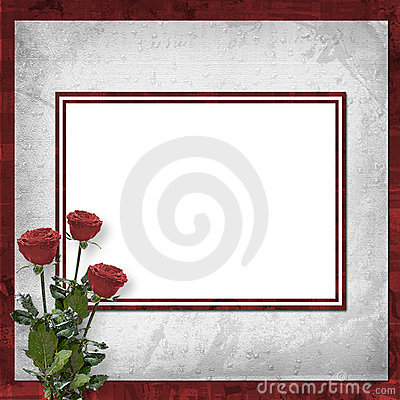 Free Card For Invitation With Vinous Roses Stock Photography - 11703892