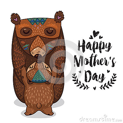 Free Card For Mothers Day With Bears Royalty Free Stock Photos - 69810358