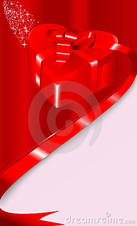 Card with a gift box in a shape of heart