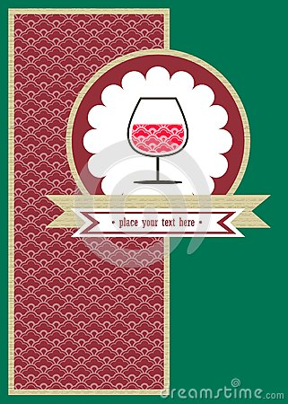 Card with a glace of wine and red pattern