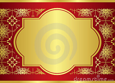 Card with golden center frame - vector