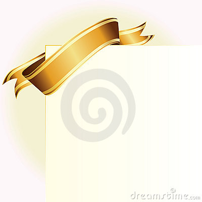 Card and golden ribbon