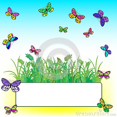 Card with grass and butterflies
