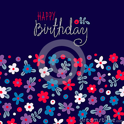 Free Card Happy Birthday With Cute Flowers Stock Photo - 50601090