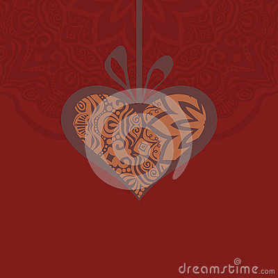 Card with a heart gift and creative design elements