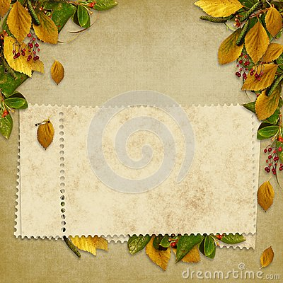 Card for the holiday  with autumn leaves