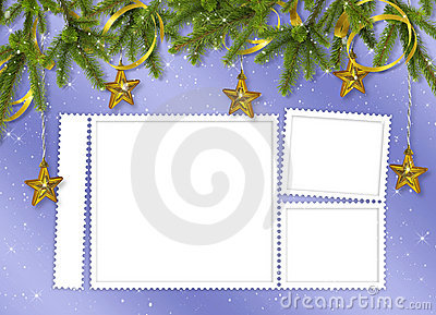 Card for the holiday with branches and balls