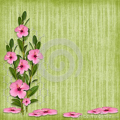 Card For The Holiday  With Flowers Stock Image - Image: 14291481