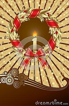 Card with a holly wreath