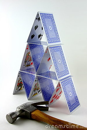 Tower of cards with hammer