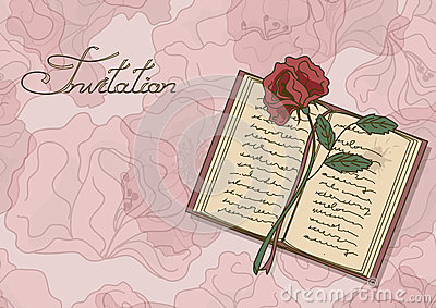 Card or invitation with book and rose flower
