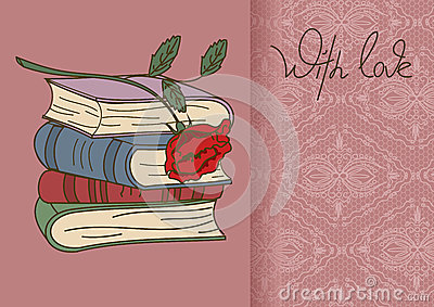 Card or invitation with books and rose flower