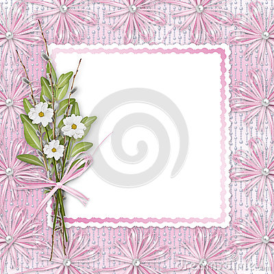 Card for invitation with bunch of flowers