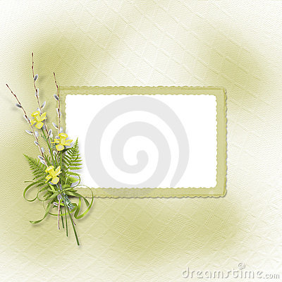 Card for invitation with bunch of willow