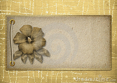 Card for the invitation, with cord and rivets
