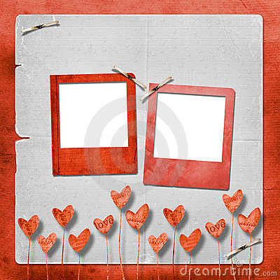 Card for invitation with hearts