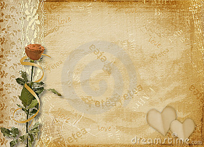 Card for invitation with rose and lace