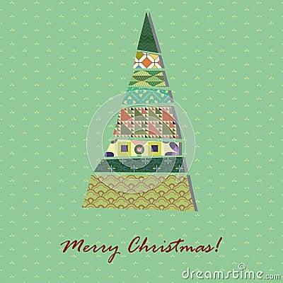 Card with pattern Xmas tree