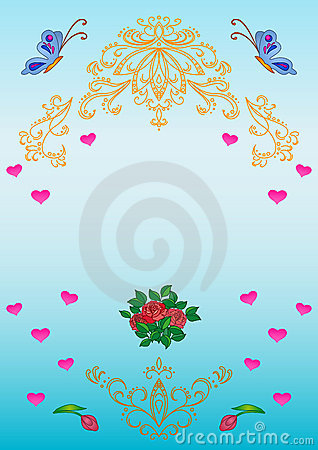 Card. Patterns, flowers, hearts,