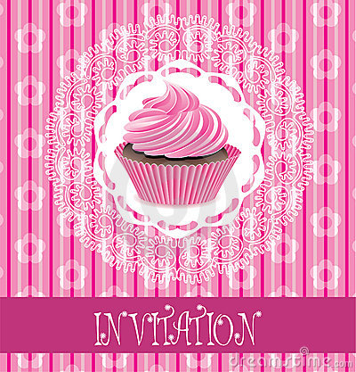 Card with pink cupcake