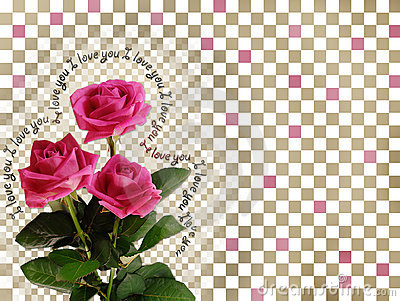 Card with pink roses on abstract background