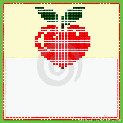 Card with pixel apple