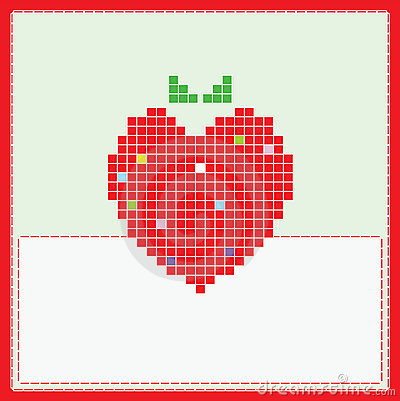 Card with pixel strawberry