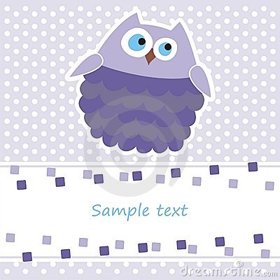 Card with purple owl