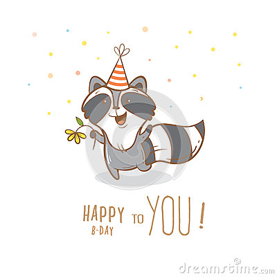 Card With Raccoon Stock Vector Image 72385379