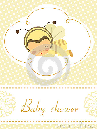 Card with sleeping baby girl in bee costume