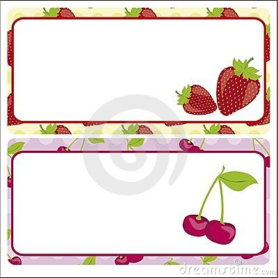 Card strawberries and cherries