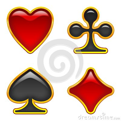 Card suits buttons, set