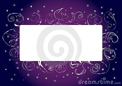 Card with  swirly border design. Vector.