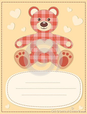 Card with the teddy bear for baby shower 2