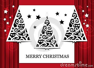 Card three fir-trees