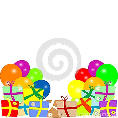 Card to birthday with balloons and gifts. vector