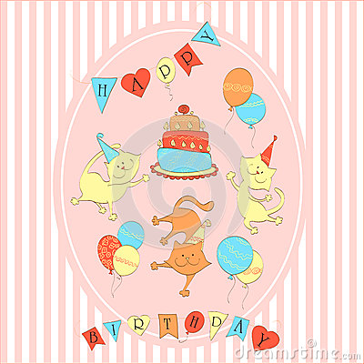 Card to birthday. Three dancing cats with balloons