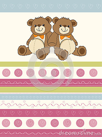 Card with a twins teddy bears