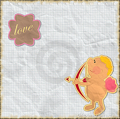Card for Valentine s Day in vintage style