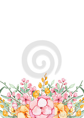 Card With Watercolor Colorful Flowers and Herbs Stock Photo