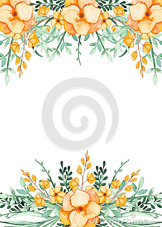 Card With Watercolor Yellow Flowers And Green Leaves Stock Photo