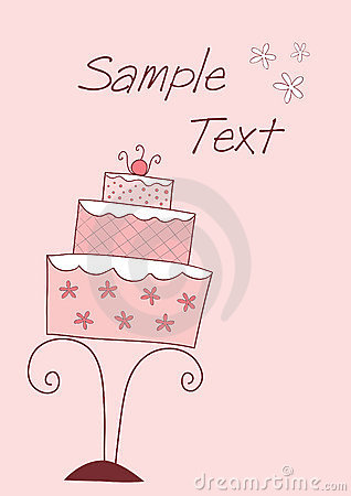 Card with wedding or birthday cake