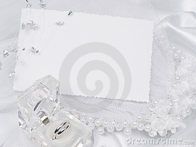 Card, weddings rings, bridal veil