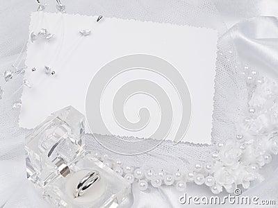 Card, weddings rings, bridal veil