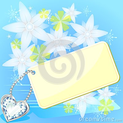 Card and white flowers