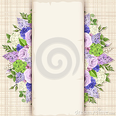 Free Card With Blue, Purple And White Flowers. Vector Eps-10. Stock Photo - 67975760