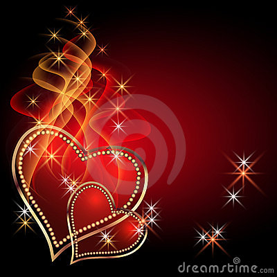 Free Card With Burning Hearts Stock Photography - 23263232