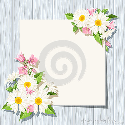 Free Card With Daisies And Bluebells Flowers On A Blue Wooden Background. Vector Eps-10. Royalty Free Stock Images - 73881169