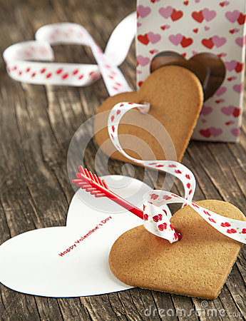Free Card With Message Happy Valentine Day And Heart Shaped Cookies Stock Images - 35494074