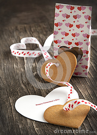 Free Card With Message Happy Valentine Day And Heart Shaped Cookies Royalty Free Stock Photo - 35610795
